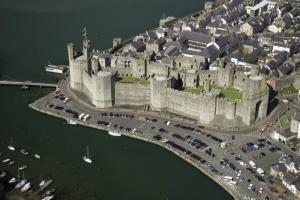 River Seiont Caernarfon Aerial view of the river seiont and caernarfon castle